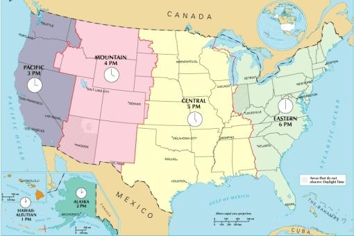 Zona waktu yang berlaku di Amerika Serikat